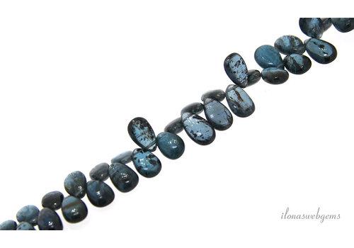 Kyaniet druppels Teal blue glad A kwaliteit oplopend van ca. 8x6x4 tot 12x11x4.5mm