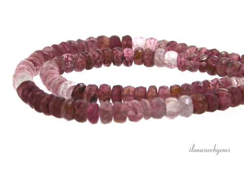 Pink Tourmaline beads faceted roundel A quality around 4x4mm