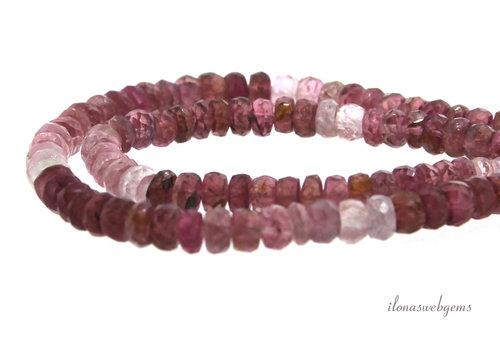 Roze Toermalijn kralen facet rondel A kwaliteit ca. 4x4mm