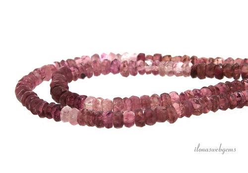 Roze Toermalijn kralen facet rondel A kwaliteit ca. 3.5x2mm
