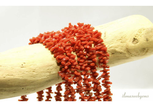 Red coral beads sticks '' Corallium Rubrum '' approx. 4x2 to 8x2mm