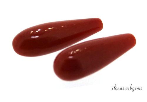 1 paar Bloedkoraal 'Corallium Rubrum' pegeltjes ca. 16x6mm