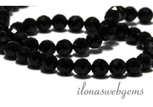 Onyx beads faceted about 4mm AAA quality cut!