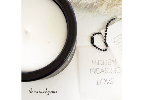 Rockstyle Hidden Treasure Candle black - LOVE - Rose quartz