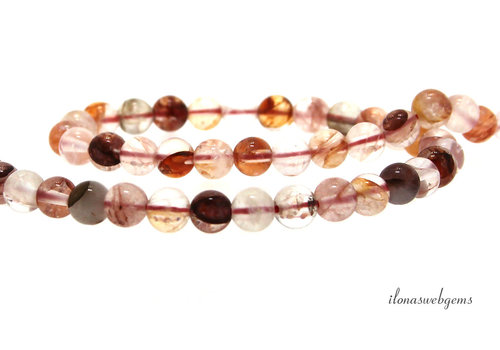 Pink fire Azeztulite beads around 6mm