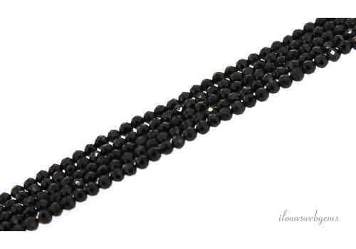 Zwarte Toermalijn (Schörl) kralen facet rond ca. AA kwaliteit slijping ca. 2.5mm