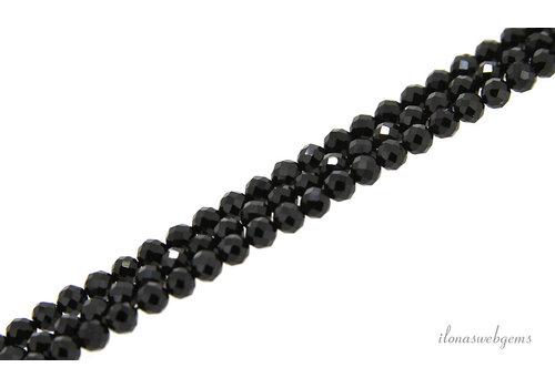 Black Tourmaline (Schörl) beads faceted around AA quality cut around 4mm