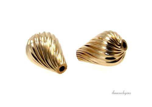 14k/ 20 Gold filled kralen ribbel ca. 13.5x9mm