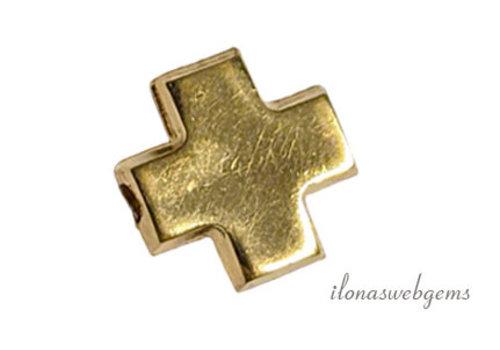 14k/20 Gold filled gehamerde kraal kruisje ca. 6.5mm