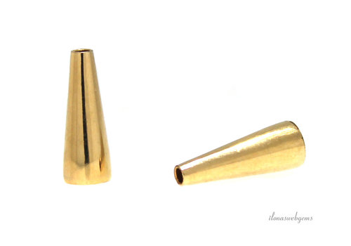 14k/20 Gold filled eindkap lang ca. 16.5x6mm