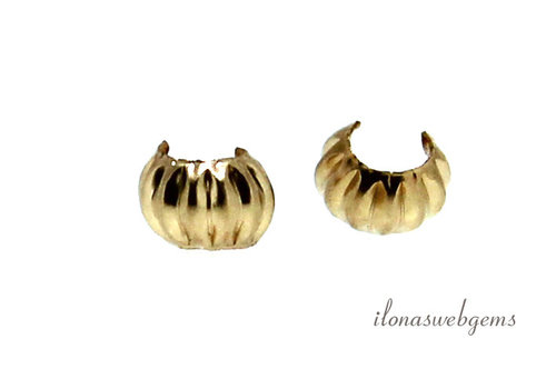14k/20 Gold filled knijpkraalverberger ribbel ca. 3mm