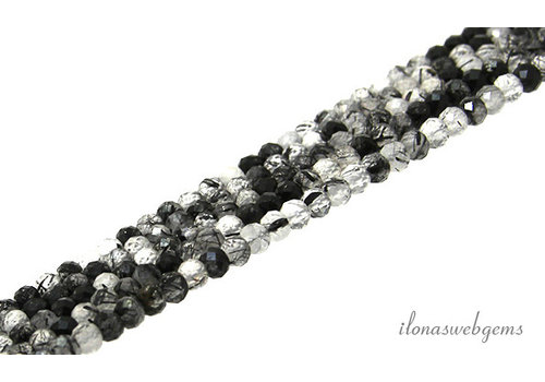 Black Rutile Quartz beads faceted roundel about 4x3mm AA quality cut