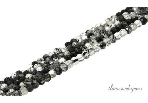 Zwarte Rutielkwarts kralen facet rondel ca. 4x3mm AA kwaliteit slijping