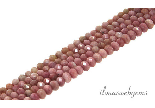 Rhodonite beads faceted roundel about 4x3mm AA quality cut