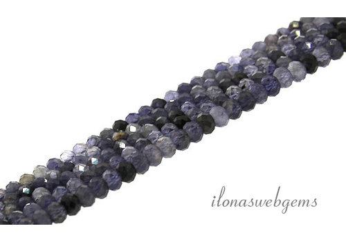 iolite beads faceted roundel about 4x3mm AA quality cut