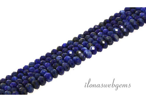 Lapis lazuli beads faceted roundel about 4x3mm AA quality cut