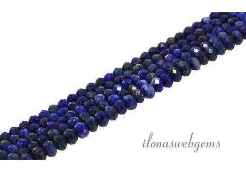 Lapis lazuli kralen facet rondel ca. 4x3mm AA kwaliteit slijping