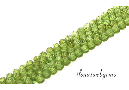 Peridot beads faceted roundel about 4x3mm AA quality cut