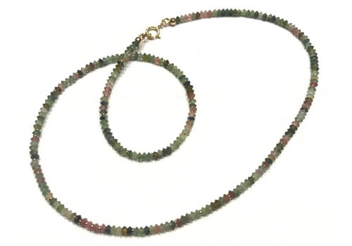 Necklace: Tourmaline bicone beads about 1.5x3mm