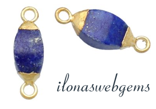 Minimalistic vermeil connector with Lapis Lazuli approx. 10x5mm