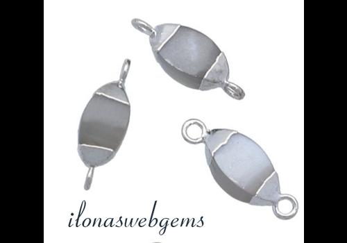 Sterling zilveren minimalistische connector met grijze Maansteen ca. 10x5mm
