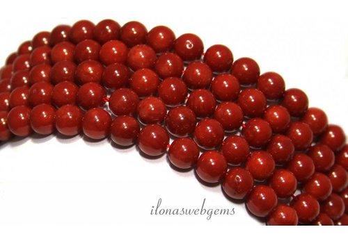 Bloedkoraal kralen rond rood ca. 6mm