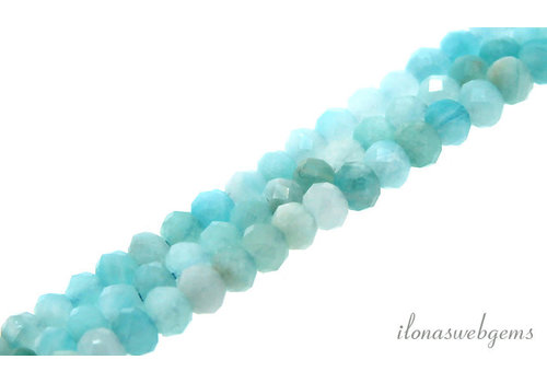 Amazonite beads faceted roundel approx. 4x3mm AA quality cut