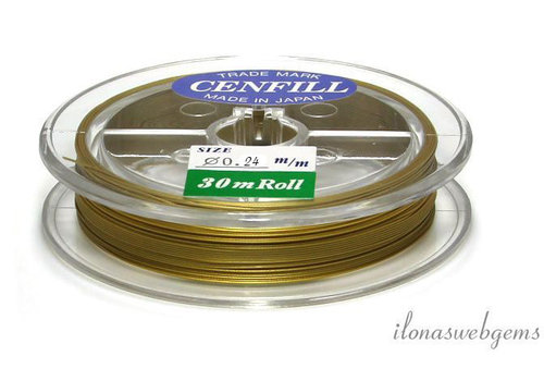 Cenfill RVS gecoat rijgdraad goud  0.24mm (7 draads)