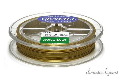 Cenfill RVS gecoat rijgdraad goud  0.50mm (7 draads)
