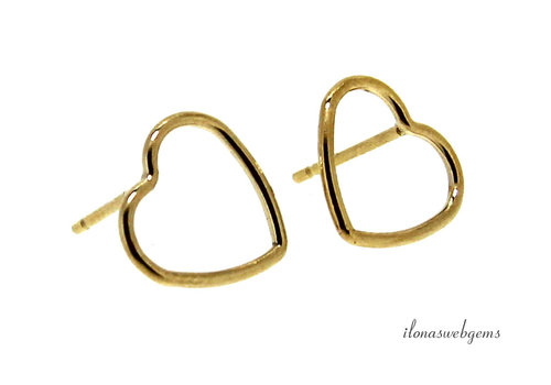 1 pair of 14k / 20 Gold filled ear studs heart