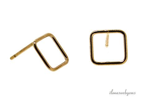 1 paar 14k/20 Gold filled oorstekers vierkant