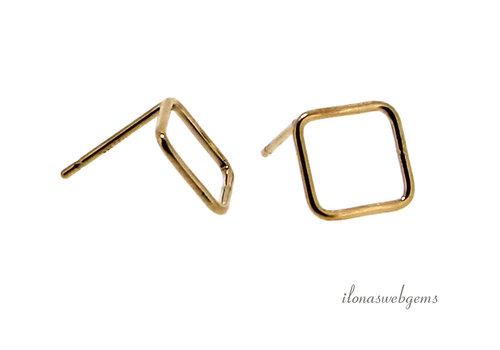 1 paar 14k/20 Gold filled oorstekers diagonaal vierkant