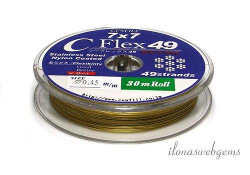 1 meter Cenfill RVS gecoat rijgdraad goud 0.45mm (49 draads)