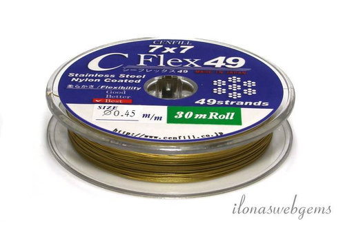 1 meter Cenfill stainless steel coated thread gold 0.45mm (49 wires)