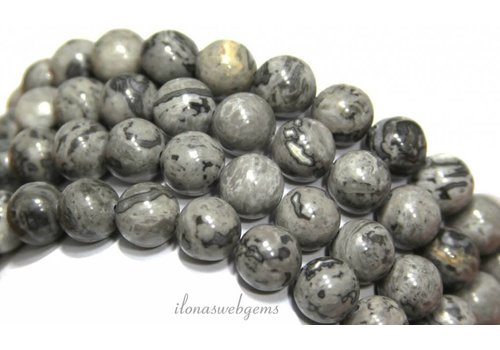 Grey crazy Agaat kralen rond grijs ca. 8mm