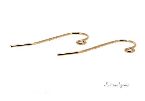 1 pair of 14 carat gold ear hooks, minimalistic, approx. 16 mm