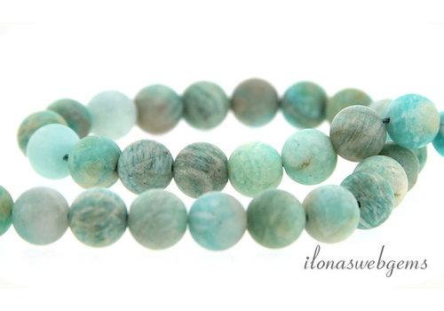 Amazonite beads round mat about 8mm