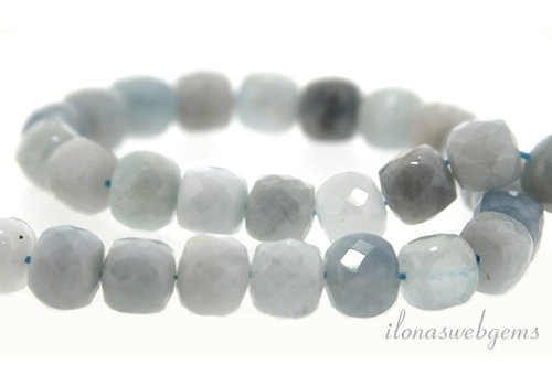 Aquamarine beads cube facet about 7mm