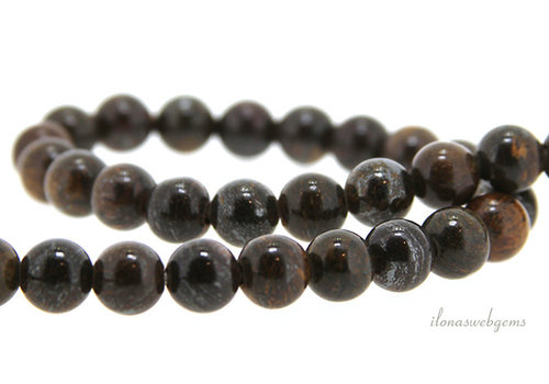Bronzite beads around 9mm - with 2mm hole