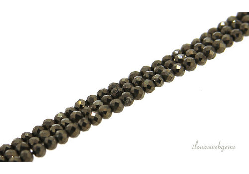 Pyrite beads round faceted about 2mm