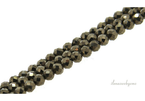 Pyrite beads round faceted about 3mm