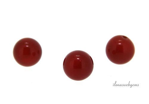 1x Carnelian bead round 8mm - half pierced
