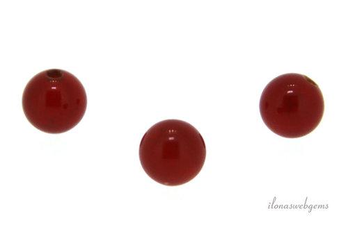 1x Carneool kraal rond 6mm - half doorboord