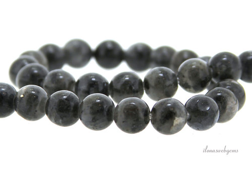 Larvikite beads round approx. 9mm - 2mm drill hole