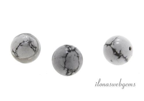1x Howlite white bead around 10mm - half pierced