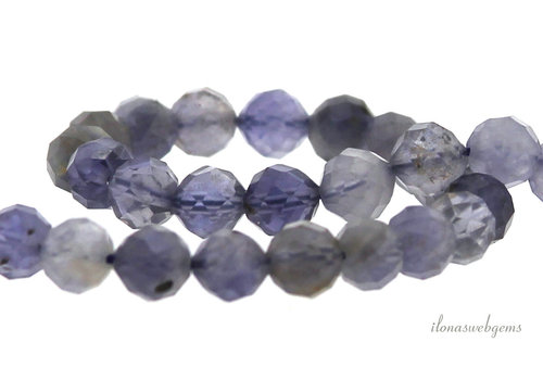 Iolite beads round faceted about 6mm