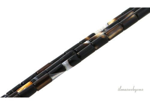Stripe Agate tube bead 4x3mm