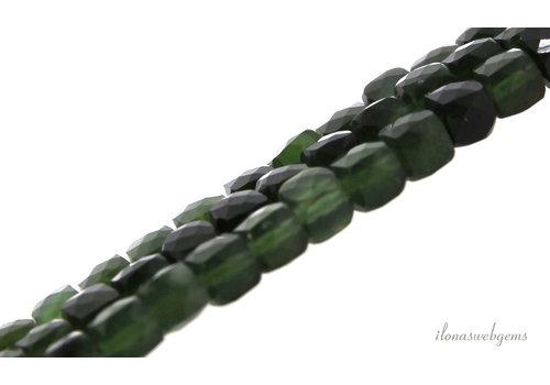 Canadese Jade kralen kubus facet ca. 5x5x5mm