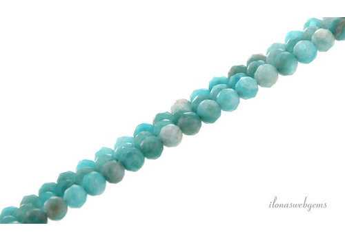 Amazonite beads round faceted about 4mm