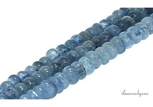 Aquamarijn kralen rondel ca. 6.5x4mm